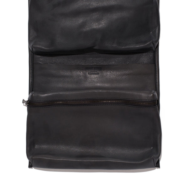 Leather Travel Unfold Pouch - Black