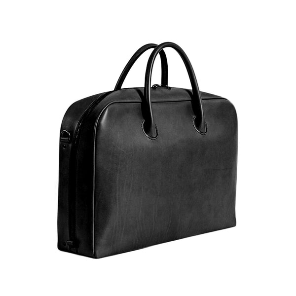 Leather Bonded Satchel - Black