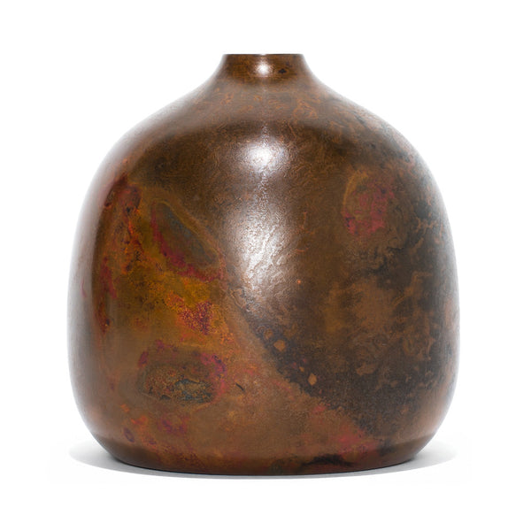 Wide Japanese Bronze Vase
