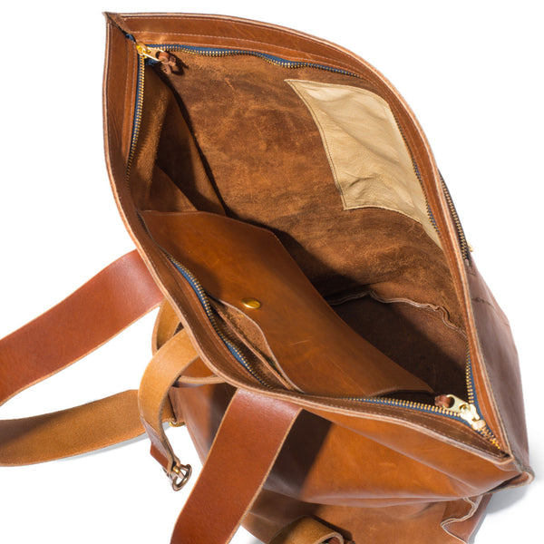Kika NY - Brown Leather Duffel Backpack - MAN of the WORLD Online Destination for Men's Lifestyle - 6