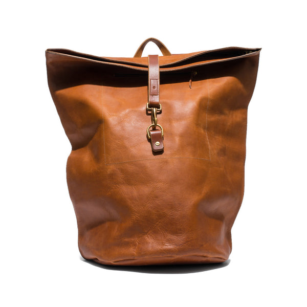 Brown Leather Duffel Backpack
