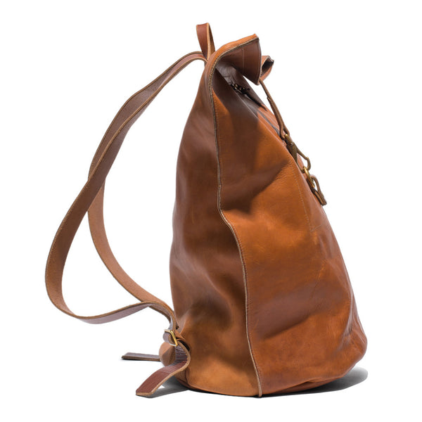 Kika NY - Brown Leather Duffel Backpack - MAN of the WORLD Online Destination for Men's Lifestyle - 5