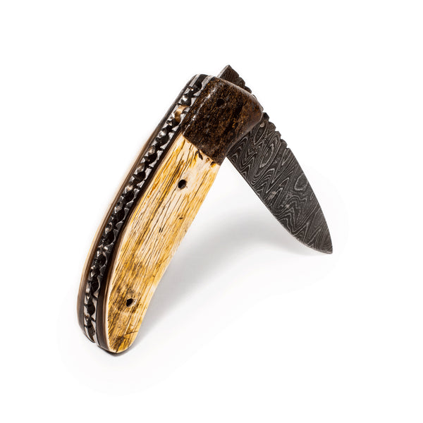 Laramie Knifeworks - Large Linerlock Weathered Ox Horn Bark and Fossil Bone Knife - MAN of the WORLD Online Destination for Men's Lifestyle - 4