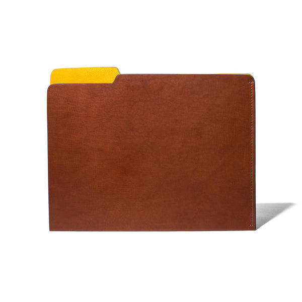 MAN OF THE WORLD - Leather Folder - Brown & Yellow - MAN of the WORLD Online Destination for Men's Lifestyle - 1