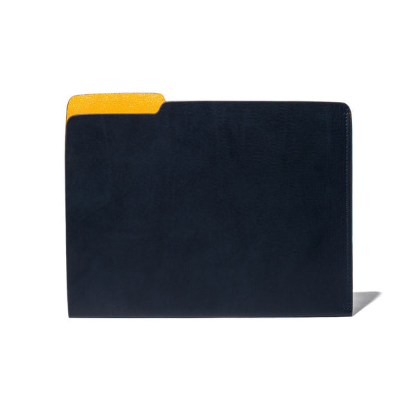 MAN OF THE WORLD - Leather Folder - Navy & Yellow - MAN of the WORLD Online Destination for Men's Lifestyle - 1