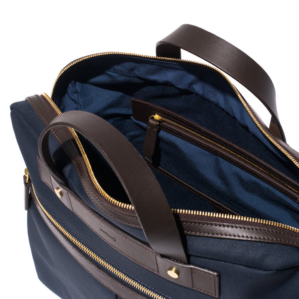 Mismo - Briefcase - Navy Canvas & Dark Brown Leather - MAN of the WORLD Online Destination for Men's Lifestyle - 7