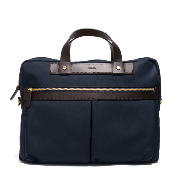 Mismo - Briefcase - Navy Canvas & Dark Brown Leather - MAN of the WORLD Online Destination for Men's Lifestyle - 1