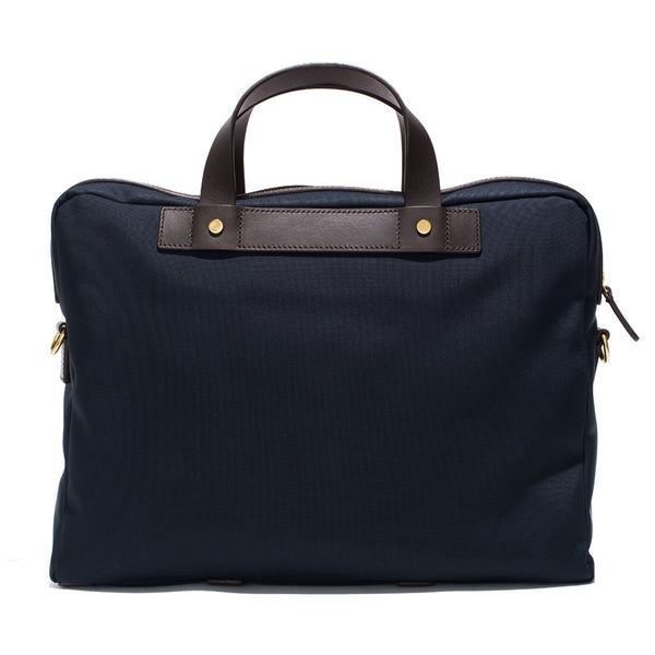 Mismo - Briefcase - Navy Canvas & Dark Brown Leather - MAN of the WORLD Online Destination for Men's Lifestyle - 4