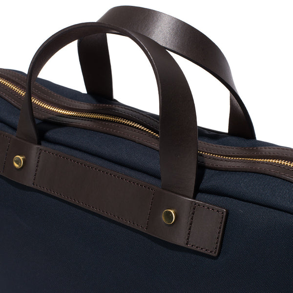 Mismo - Briefcase - Navy Canvas & Dark Brown Leather - MAN of the WORLD Online Destination for Men's Lifestyle - 8