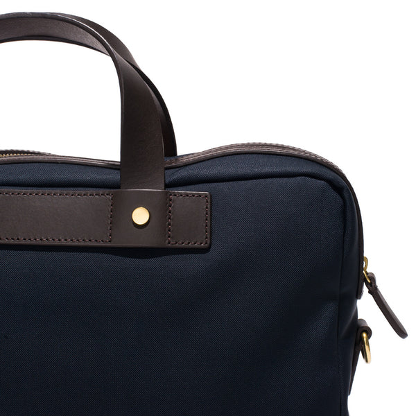 Mismo - Briefcase - Navy Canvas & Dark Brown Leather - MAN of the WORLD Online Destination for Men's Lifestyle - 10