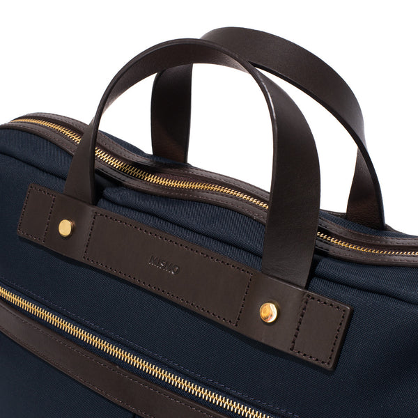Mismo - Briefcase - Navy Canvas & Dark Brown Leather - MAN of the WORLD Online Destination for Men's Lifestyle - 6