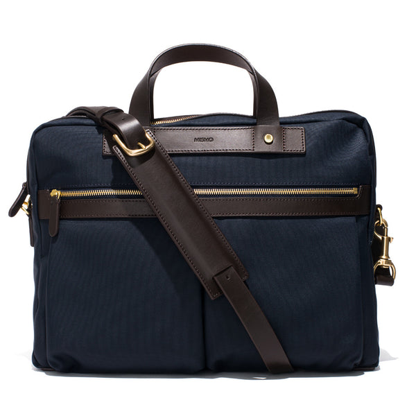 Mismo - Briefcase - Navy Canvas & Dark Brown Leather - MAN of the WORLD Online Destination for Men's Lifestyle - 2