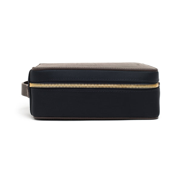 Capsule Travel Case - Navy Nylon & Dark Brown Leather