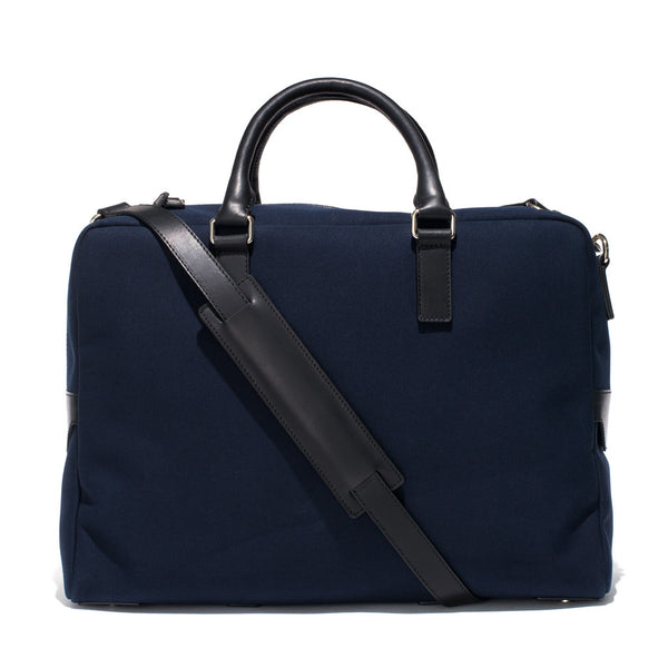 Mismo - Overnight holdall - Navy Canvas & Black Leather - MAN of the WORLD Online Destination for Men's Lifestyle - 1