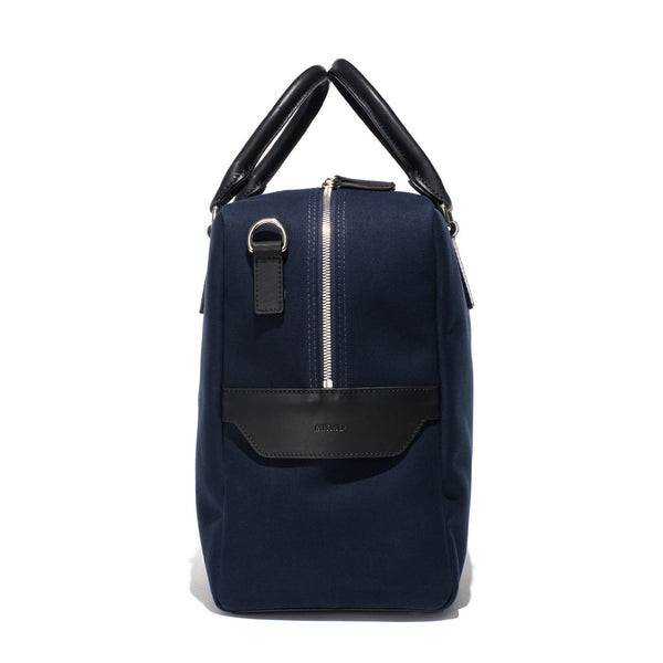 Mismo - Overnight holdall - Navy Canvas & Black Leather - MAN of the WORLD Online Destination for Men's Lifestyle - 4