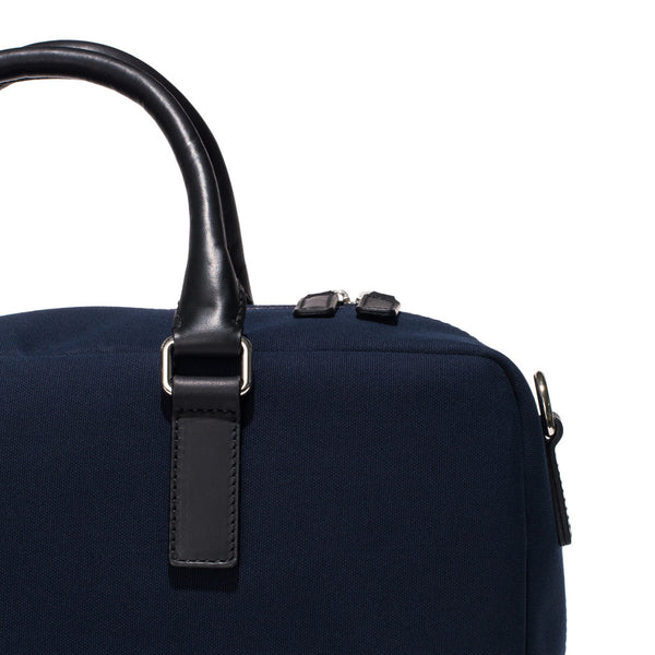 Mismo - Overnight holdall - Navy Canvas & Black Leather - MAN of the WORLD Online Destination for Men's Lifestyle - 9