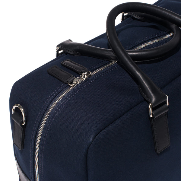 Mismo - Overnight holdall - Navy Canvas & Black Leather - MAN of the WORLD Online Destination for Men's Lifestyle - 7
