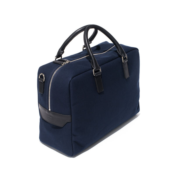 Mismo - Overnight holdall - Navy Canvas & Black Leather - MAN of the WORLD Online Destination for Men's Lifestyle - 3