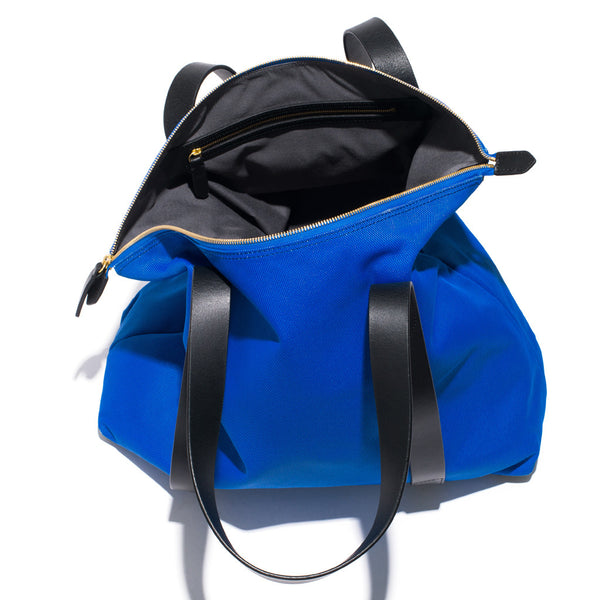 Mismo - Overnight Tote - Cobalt Blue Canvas & Black Leather - MAN of the WORLD Online Destination for Men's Lifestyle - 4