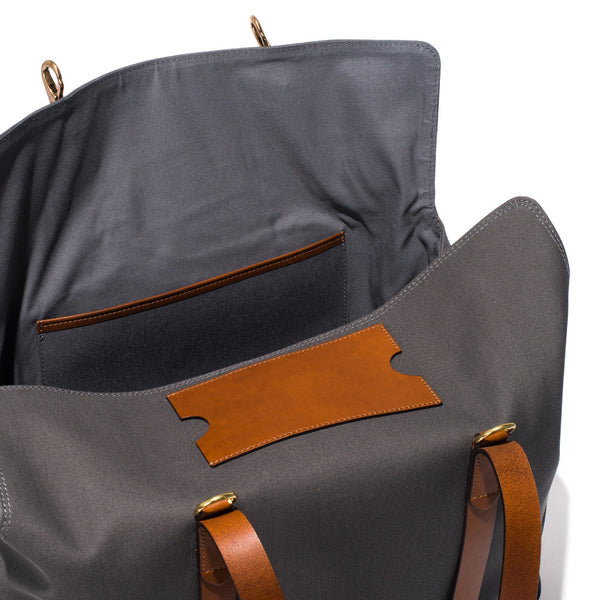 Mismo - Oversized Tote - Grey Canvas & Brown Leather - MAN of the WORLD Online Destination for Men's Lifestyle - 7