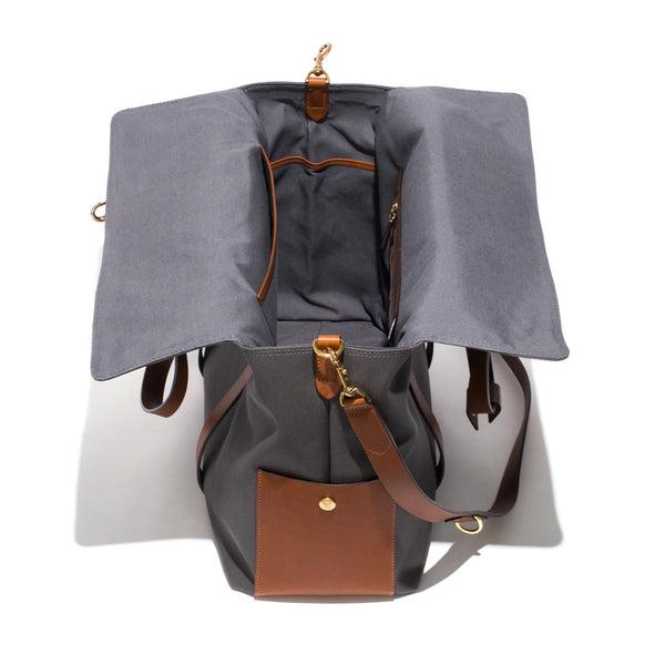 Mismo - Oversized Tote - Grey Canvas & Brown Leather - MAN of the WORLD Online Destination for Men's Lifestyle - 5