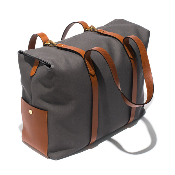 Mismo - Oversized Tote - Grey Canvas & Brown Leather - MAN of the WORLD Online Destination for Men's Lifestyle - 3