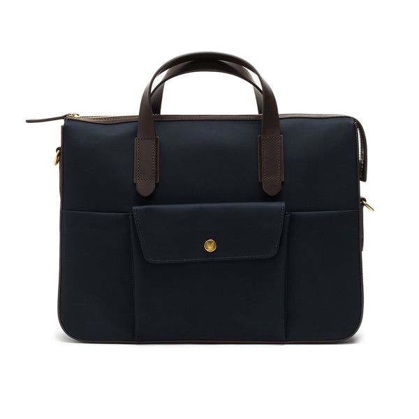 Rigid Briefcase - Navy Nylon & Dark Brown Leather