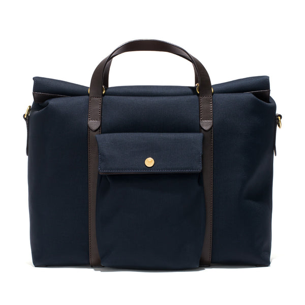 Mismo - Roll Top Tote - Navy Canvas & Dark Brown Leather - MAN of the WORLD Online Destination for Men's Lifestyle - 1