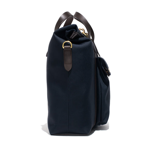 Mismo - Roll Top Tote - Navy Canvas & Dark Brown Leather - MAN of the WORLD Online Destination for Men's Lifestyle - 2