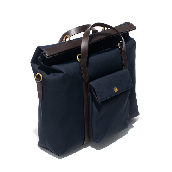 Mismo - Roll Top Tote - Navy Canvas & Dark Brown Leather - MAN of the WORLD Online Destination for Men's Lifestyle - 4