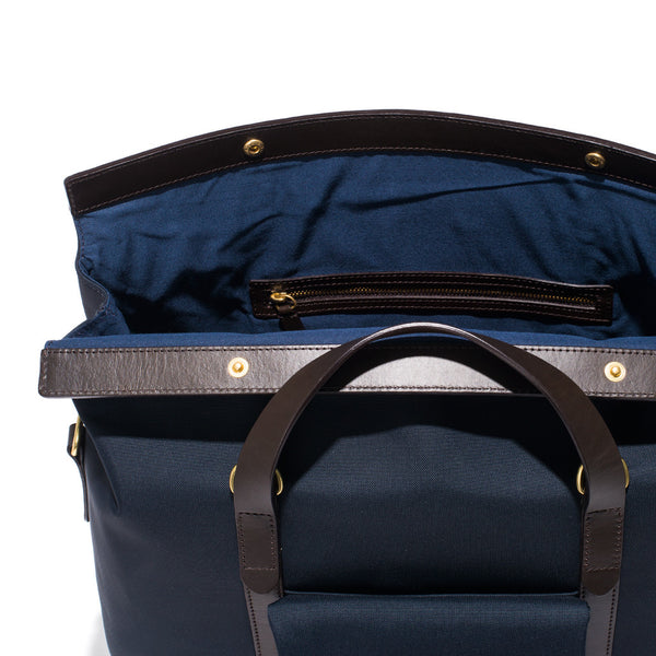 Mismo - Roll Top Tote - Navy Canvas & Dark Brown Leather - MAN of the WORLD Online Destination for Men's Lifestyle - 8