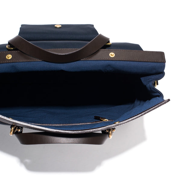 Mismo - Roll Top Tote - Navy Canvas & Dark Brown Leather - MAN of the WORLD Online Destination for Men's Lifestyle - 7