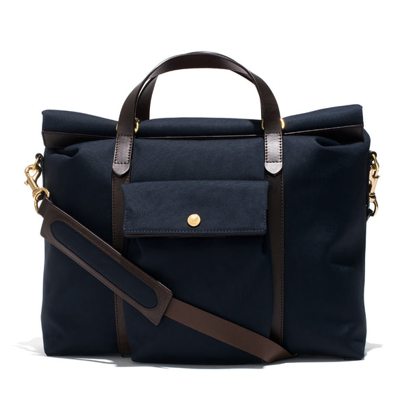 Mismo - Roll Top Tote - Navy Canvas & Dark Brown Leather - MAN of the WORLD Online Destination for Men's Lifestyle - 3