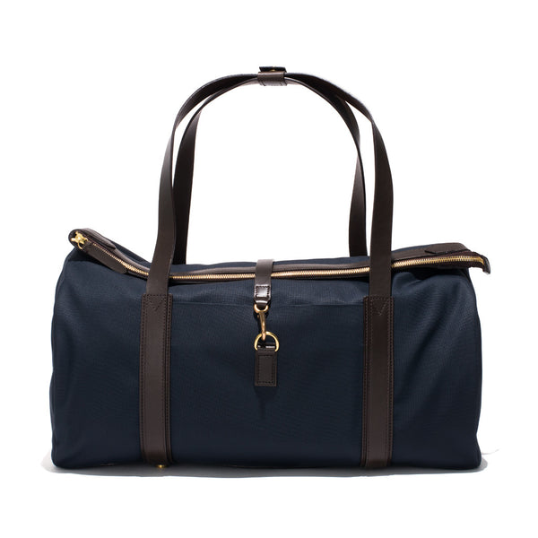 Mismo - Sport Carry-on - Navy Canvas & Dark Brown Leather - MAN of the WORLD Online Destination for Men's Lifestyle - 1