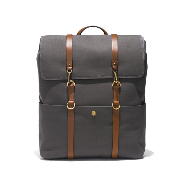 Standard Backpack - Grey Canvas & Brown Leather