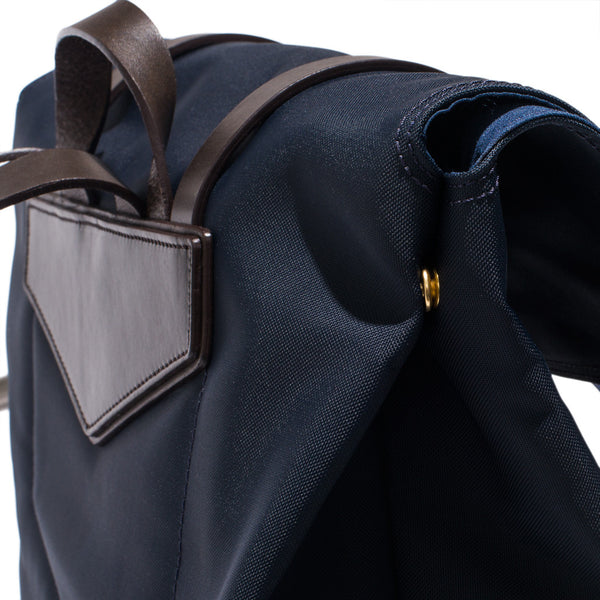 Mismo - Standard Backpack - Navy Canvas & Dark Brown Leather - MAN of the WORLD Online Destination for Men's Lifestyle - 8