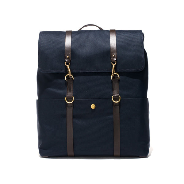 Standard Backpack - Navy Canvas & Dark Brown Leather