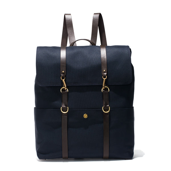 Mismo - Standard Backpack - Navy Canvas & Dark Brown Leather - MAN of the WORLD Online Destination for Men's Lifestyle - 2