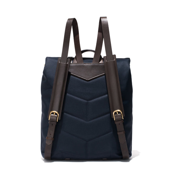 Mismo - Standard Backpack - Navy Canvas & Dark Brown Leather - MAN of the WORLD Online Destination for Men's Lifestyle - 5