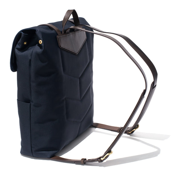 Mismo - Standard Backpack - Navy Canvas & Dark Brown Leather - MAN of the WORLD Online Destination for Men's Lifestyle - 4