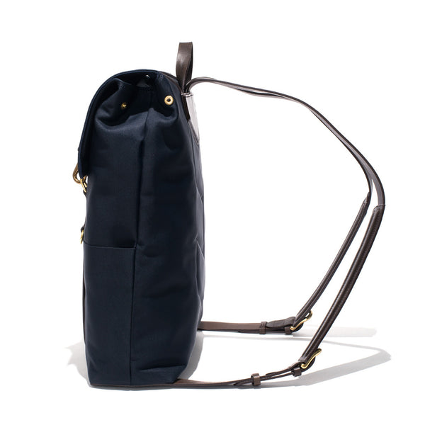 Mismo - Standard Backpack - Navy Canvas & Dark Brown Leather - MAN of the WORLD Online Destination for Men's Lifestyle - 3