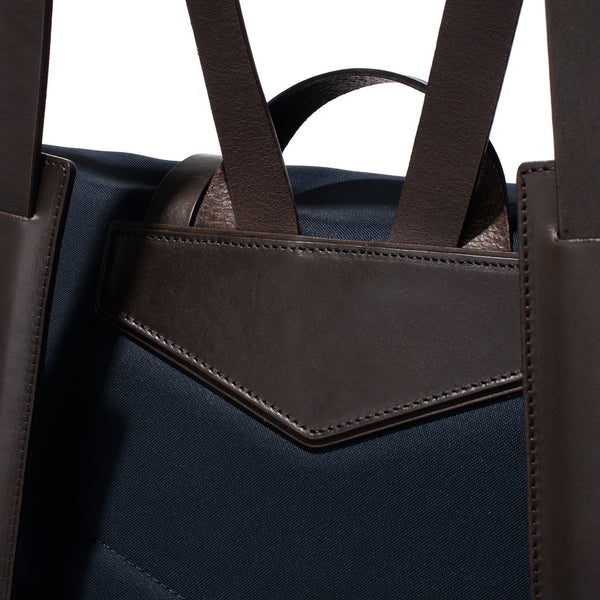Mismo - Standard Backpack - Navy Canvas & Dark Brown Leather - MAN of the WORLD Online Destination for Men's Lifestyle - 9