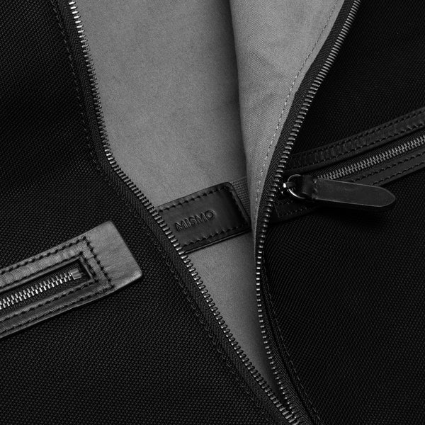 Suit Carrier - Black Ballistic Nylon & Black Leather