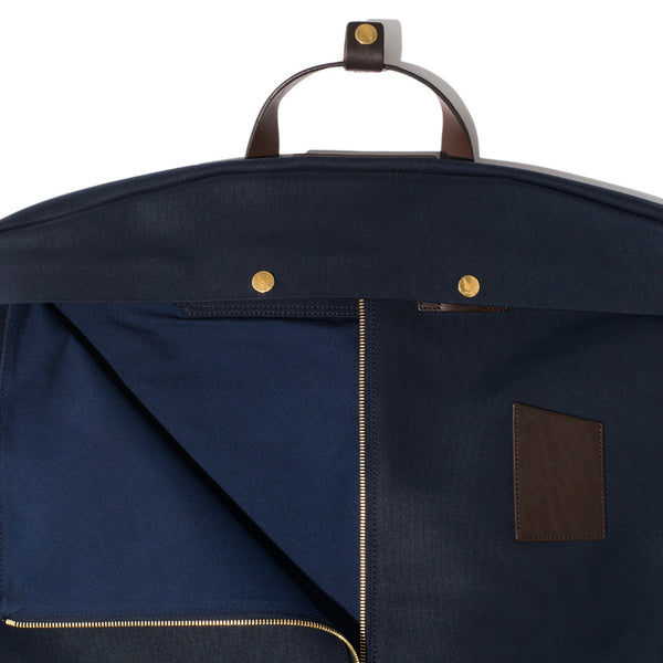Mismo - Suit Carrier - Navy Canvas & Dark Brown Leather - MAN of the WORLD Online Destination for Men's Lifestyle - 6