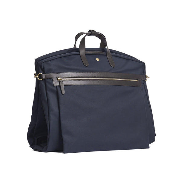 Suit Carrier - Navy Canvas & Dark Brown Leather