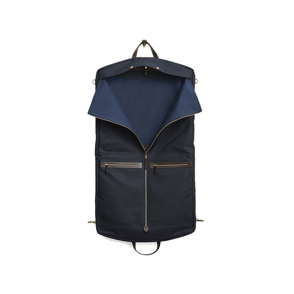 Mismo - Suit Carrier - Navy Canvas & Dark Brown Leather - MAN of the WORLD Online Destination for Men's Lifestyle - 3
