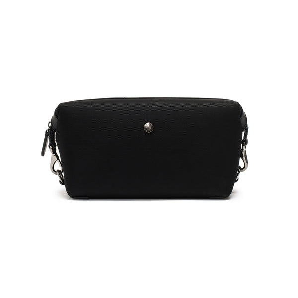 Travel Washbag - Black Ballistic Nylon & Black Leather