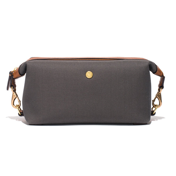 Travel Washbag - Grey Canvas & Brown Leather