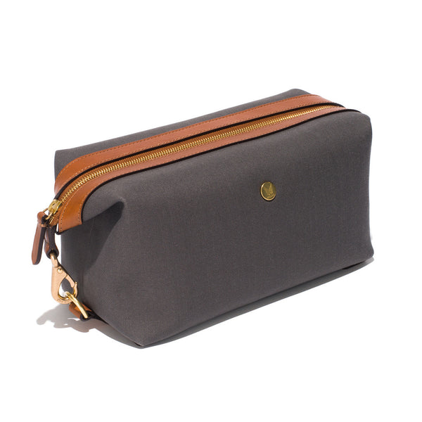 Mismo - Travel Washbag - Grey Canvas & Brown Leather - MAN of the WORLD Online Destination for Men's Lifestyle - 2