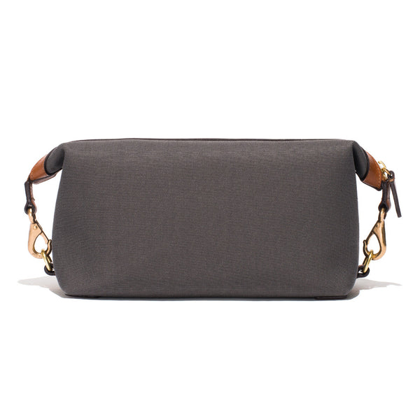 Mismo - Travel Washbag - Grey Canvas & Brown Leather - MAN of the WORLD Online Destination for Men's Lifestyle - 4
